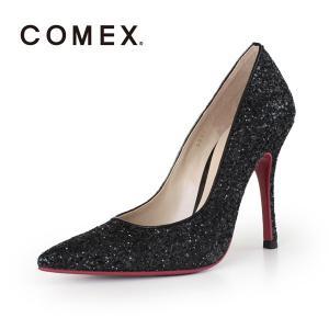 COMEX コメックス パンプス 靴 5594 (クロラメ) ポインテッドトゥ ハイヒール グリッター ラメ ピンヒール レッドソール パーティー|washington