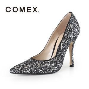 COMEX コメックス パンプス 靴 5594 (クロシルバーラメ) ポインテッドトゥ ハイヒール グリッター ラメ ピンヒール パーティー|washington