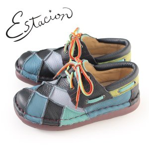エスタシオン 靴 estacion TG154 (NV/MT) 本革 厚底 カジュアルシューズ コンフォートシューズ レディース 紐靴|washington