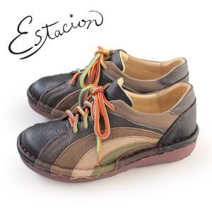 エスタシオン 靴 estacion MS820 (BL/MT) 本革 厚底 カジュアルシューズ コンフォートシューズ レディース 紐靴|washington