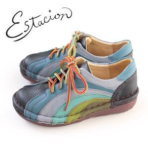 エスタシオン 靴 estacion MS820 (NV/MT) 本革 厚底 カジュアルシューズ コンフォートシューズ レディース 紐靴|washington
