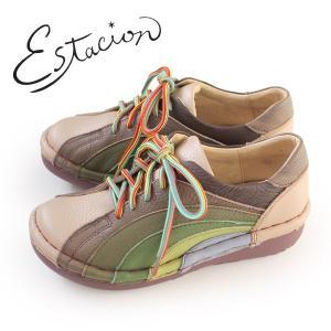 エスタシオン 靴 estacion MS820 (OK/MT) 本革 厚底 カジュアルシューズ コンフォートシューズ レディース 紐靴|washington
