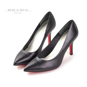 MELMO 靴 メルモ レッドソール パンプス 7451 ポインテッドトゥ ヒール ブラック 抗菌 防臭|washington