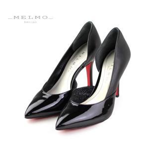 MELMO 靴 メルモ レッドソール パンプス 7452 ポインテッドトゥ セパレート ヒール ブラック 抗菌 防臭 本革 スムース|washington