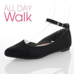 ALL DAY Walk オールデイウォーク 靴 ALD0590 パンプス ローヒール アキレス 撥水 ポインテッドトゥ ストラップ ブラック 黒 レディース セール|washington