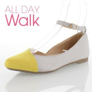 ALL DAY Walk オールデイウォーク 靴 ALD0590 パンプス ローヒール アキレス 撥水 ポインテッドトゥ ストラップ イエロー/ライトグレー レディース セール|washington
