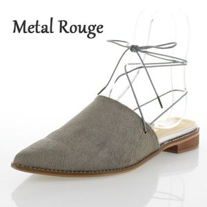 Metal Rouge メタルルージュ 靴 118 ギリー ミュール サンダル フラット グレー ハラコ調 革 レディース セール|washington
