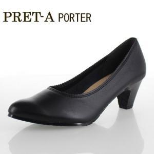 PRET-A PORTER プレタポルテ 381 靴 黒 パンプス ラウンドトゥ オフィス リクルート レディース ストレッチ ブラック 日本製|washington