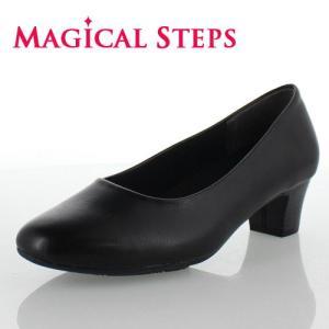 MAGICAL STEPS マジカルステップス 靴 4040 パンプス ブラック レディース 4E ビジネス リクルート 冠婚葬祭 幅広 ラウンドトゥ スムース調|washington