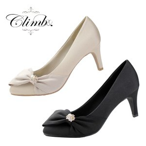 Climb クライム 結婚式 パンプス 靴 3513 リボン パール ヒール お呼ばれ 靴 レディース パーティー サテン ベージュ 黒 ブラック|washington
