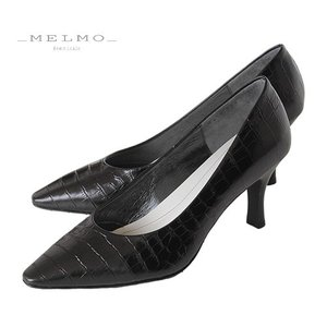 MELMO 靴 メルモ クロコ型押し パンプス 7478 ブラック 天然皮革 フォーマル ゆったり 2E 女子会 二次会 デート セール|washington