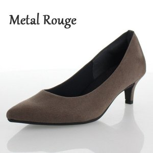Metal Rouge メタルルージュ 靴 570 パンプス ポインテッドトゥ 冠婚葬祭 パーティ シンプル グレー スエード調 レディース|washington