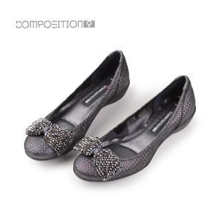 コンポジション9 COMPOSITION9 靴 2263 コンフォートパンプス レディース  ローヒール リボン バレエシューズ ブラック 黒 セール washington