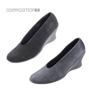 コンポジション9 COMPOSITION9 靴 2651 甲深 パンプス レディース スエード ウエッジ ヒール 低反発 コンフォート ブープス|washington
