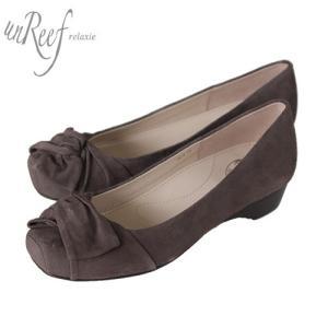 unReef アンリーフ 靴 3414 パンプス オブリークトゥ スクエアトゥ スエード ウェッジヒール ブラウン オーク レディース セール|washington