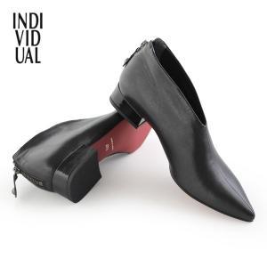 INDIVIDUAL インディヴィジュアル ラボキゴシ 靴 6286 本革 ブーティ ローヒール ブーツ レッドソール シューティ  レディース 黒 セール|washington