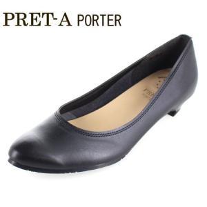 PRET-A PORTER プレタポルテ 靴 343 パンプス ストレッチ ローヒール ポインテッドトゥ ビジネス 黒 ブラック レディース|washington