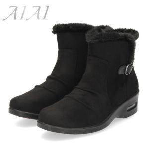 ショートブーツ レディース 防水 AIAI アイアイ 9804-BL 防滑 抗菌 防臭 あったか ブーツ サイドゴア ゴム ベルト 4E 靴 ブラック 黒|washington