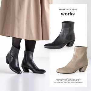 RABOKIGOSHI works ブーツ ラボキゴシ ワークス 靴 11922 本革 ショートブーツ レディース ローヒール アンクルブーツ セール|washington