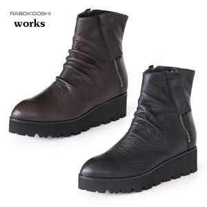 RABOKIGOSHI works ブーツ ラボキゴシ ワークス 靴 11895 本革 厚底 ショートブーツ レディース 軽量 インヒール ファスナー付き セール|washington