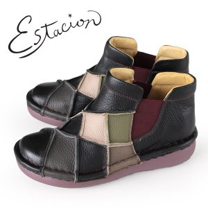 エスタシオン ブーツ 靴 estacion MS33 (BL/MT) 本革 ショートブーツ 厚底 サイドゴアブーツ レディース ローヒール|washington