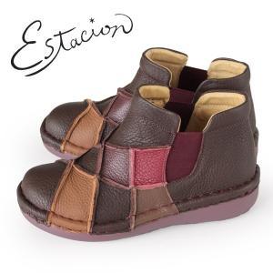 エスタシオン ブーツ 靴 estacion MS33 (BR/MT) 本革 ショートブーツ 厚底 サイドゴアブーツ レディース ローヒール|washington