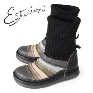エスタシオン ブーツ 靴 estacion TGE268 (BL/MT) ニットブーツ レディース ショートブーツ ニット 厚底 ローヒール|washington