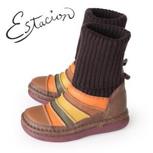 エスタシオン ブーツ 靴 estacion TGE268 (BR/MT) ニットブーツ レディース ショートブーツ ニット 厚底 ローヒール|washington