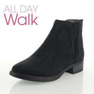 ALL DAY Walk オールデイウォーク 靴 00850 085 ショートブーツ あたたか 冬 2E 幅広 ローヒール 黒 ブラック レディース セール|washington
