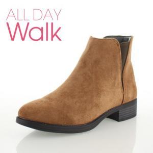 ALL DAY Walk オールデイウォーク 靴 00850 085 ショートブーツ あたたか 冬 2E 幅広 ローヒール サイドゴア キャメル レディース セール|washington