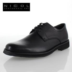 メンズ 靴 NICCOL CENTENARY ニコルセンテナリー 1003 ブラック ビジネスシューズ プレーントゥ 本革 外羽根式 日本製 撥水加工 4E|washington