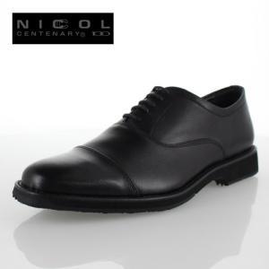 メンズ 靴 NICCOL CENTENARY ニコルセンテナリー 1030 ブラック ビジネスシューズ ストレートチップ 本革 内羽根式 日本製 撥水加工 4E|washington