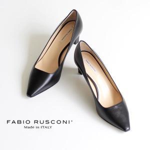 ファビオルスコーニ FABIO RUSCONI パンプス 靴 71151 ポインテッドトゥ プレーン パンプス ヒール スムース 黒 ブラック クロ|washington