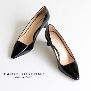 ファビオルスコーニ FABIO RUSCONI パンプス 靴 71152 ポインテッドトゥ プレーン パンプス ヒール エナメル 黒 ブラック クロ|washington