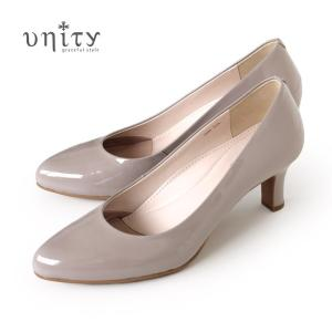 unity パンプス ユニティ 靴 本革 エナメル 7694 LGYE ライトグレー フォーマル ヒール レディース ワイズ 2E|washington