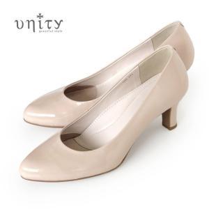unity 靴 ユニティ 本革 エナメル パンプス 7694 PBGE ピンクベージュ ベージュ フォーマル ヒール レディース ワイズ 2E|washington