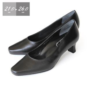 本革 パンプス 黒 ローヒール Simple Style 6400 3E フォーマルパンプス 大きいサイズ 小さいサイズ レディース 靴 シンプルスタイル|washington