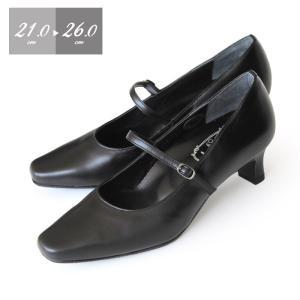 本革 パンプス 黒 ローヒール Simple Style 6401 ストラップ 3E フォーマル 大きいサイズ 小さいサイズ レディース 靴 シンプルスタイル washington