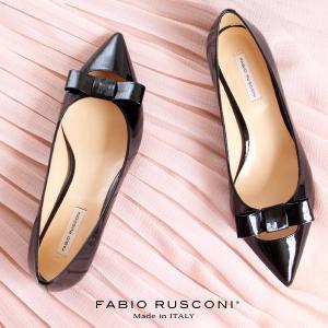 ファビオルスコーニ FABIO RUSCONI パンプス 靴 71033 リボン ポインテッドトゥ プレーントゥ フラット ブラック 黒 エナメル|washington