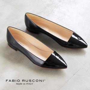 ファビオルスコーニ FABIO RUSCONI パンプス 靴 81002 エナメル ポインテッドトゥ フラット 切り替え ブラック 黒 セール|washington