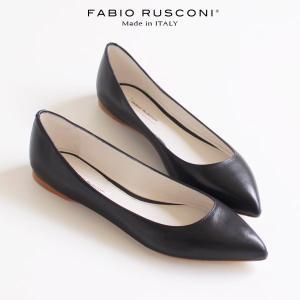 ファビオルスコーニ FABIO RUSCONI パンプス 靴 81502 ポインテッドトゥ プレーントゥ フラット ブラック 黒 スムース|washington