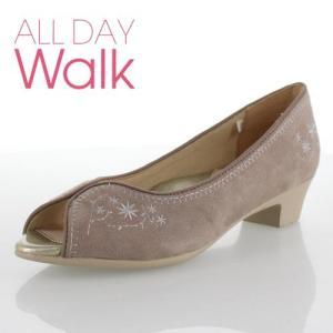 オールデイウォーク ALL DAY Walk 靴 2080 208 パンプス オープントゥ 花柄 ローヒール 撥水 消臭 2E オーク レディース セール|washington