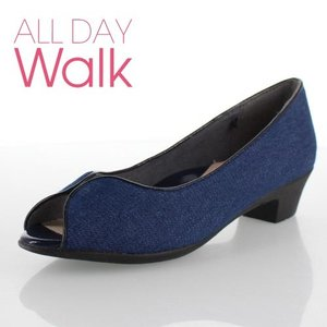 オールデイウォーク ALL DAY Walk 靴 2100 210 パンプス オープントゥ ローヒール 撥水 消臭 2E ネイビー デニム レディース セール|washington
