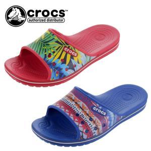 クロックス crocs サンダル レディース メンズ クロックバンド 2.0 グラフィック スライド 204803 シャワーサンダル レッド ブルー|washington