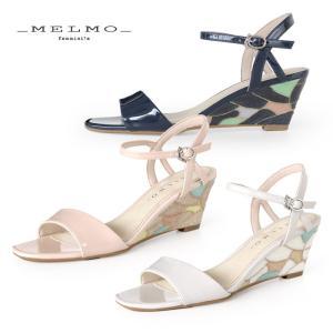 メルモ MELMO サンダル 靴 7545 ウエッジソール アンクルストラップ エナメル レディース セール|washington