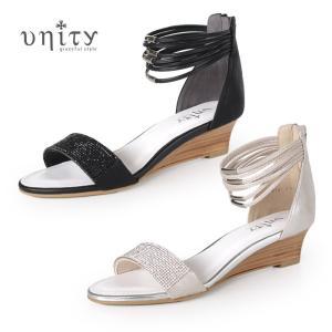 unity サンダル 靴 ユニティ 7810 アンクルストラップ ローヒール ウエッジソール ワイズ 2E バックファスナー ビジュー レディース セール|washington