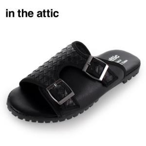 メンズ サンダル ダブルベルト インジアティック in the attic 186-1218 BLACK カジュアル ブラック 靴 男性用 セール|washington