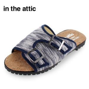 メンズ サンダル ダブルベルト インジアティック in the attic 186-1248 NAVY カジュアル ネイビー スラブニット 靴 男性用 セール|washington