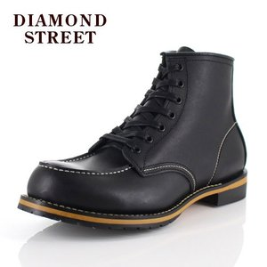 メンズ ブーツ ダイヤモンドストリート DIAMOND STREET DS-519 BLK モカシン ワークブーツ 靴 オイルレザー ブラック|washington