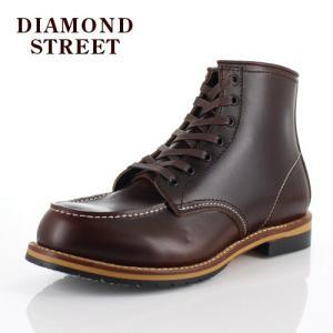 メンズ ブーツ ダイヤモンドストリート DIAMOND STREET DS-519 DBR モカシン ワークブーツ 靴 オイルレザー ダークブラウン|washington